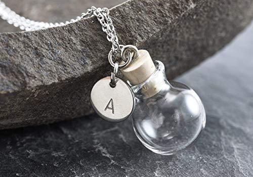 Wunschkugel mini silber echtes Borosilikatglas Punkt Gravur befüllbar personalisiert Buchstabe
