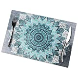 Encounter2019 BOHOCHIC Mandala IN Blue Table Placemats for Dining Table,Washable Table mats Heat-Resistant(12x18 Inch) Set of 6
