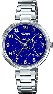 ساعة بمينا ازرق وكوكبة برج السرطان للنساء من كاسيو مع حزام من الستانلس ستيل، موديل LTP-E04D-2ADR