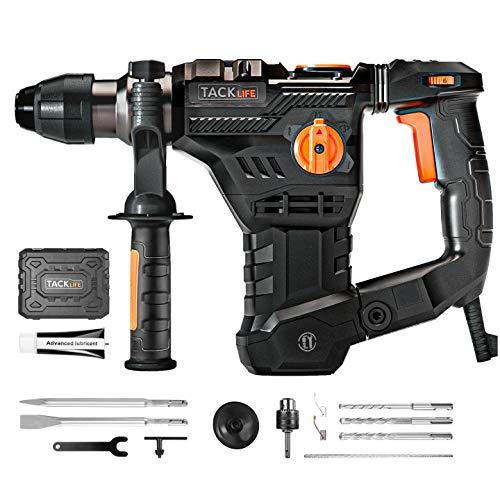 Bohrhammer, TACKLIFE 1500W Professional Abbruchhammer (SDS-Plus, 7J Schlagstärke, 4350BPM, 900RPM, 4 Funktionen, Vibrationsdämpfungstechnologie, inkl. 12-teiligem Bohrer- & Meißelset, Koffer)- TRH01A