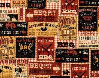Brown Rust Country Bar-B-Q Ranch, Cow, Pig, Smokehouse, Pit Handmade Window Curtain Valance Cotton Fabric