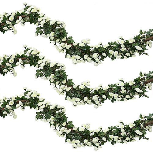 Veryhome 2Pcs 69 Heads 5.7FT Artificial Rose Vine Silk Fake Flowers Garland Plant Floral Ivy Decorations For Home Wedding Arrangement Party Garden Décor White
