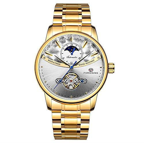 Relojes De Pulsera,Reloj Mecánico Automático Impermeable Doble Transparente, Superficie De Anillo De Oro Blanco