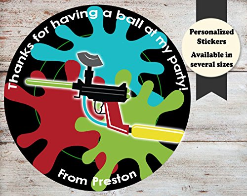 Paintball Party Birthday Personalized Round Stickers, Several Sizes Available