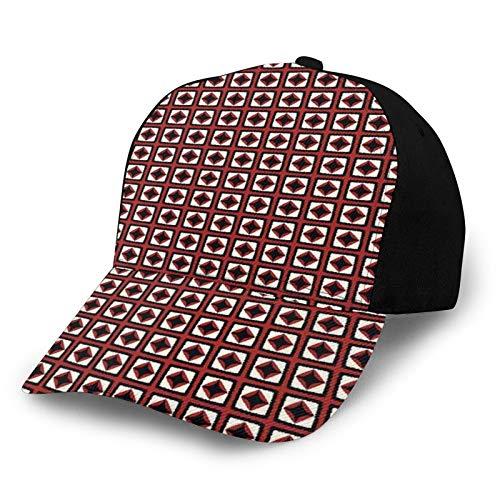 Gorra de béisbol estructurada, rombos con diseño de trueno y hexágono, diseño de mosaico, diseño geométrico para papá, se adapta a hombres y mujeres, perfil bajo ajustable