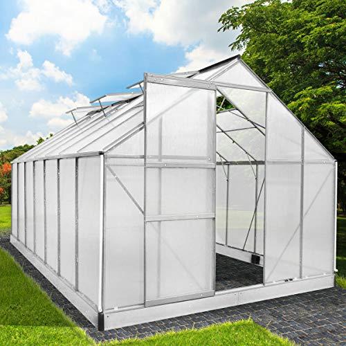 BRAST Gewächshaus Aluminium mit Stahlfundament 17,2 m³ Alu Gartenhaus Treibhaus 430x250x205cm 6mm Platten