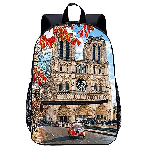 YSSMGS Mochila para portátil Notre Dame de París Mochila escolar para adolescentes Mochila escolar para niños Mochila escolar informal Mochila de viaje para niña Mochila escolar femenina