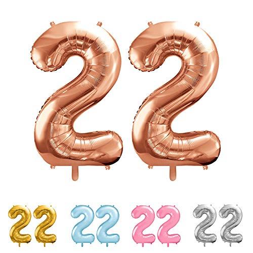 balloonfantasy Partyboutique Balloon Fantasy Zahlen Luftballon Set XXL | Geburtstagsdeko (Roségold, 22)