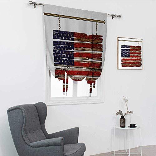 GugeABC Primitive Country Gardinen für Küche, Flagge der Vereinigten Staaten, bemalte Holzbretter, 4. Juli, Design, Illustration, Fensterschirme für Zuhause, mehrfarbig, 99,1 x 162,6 cm