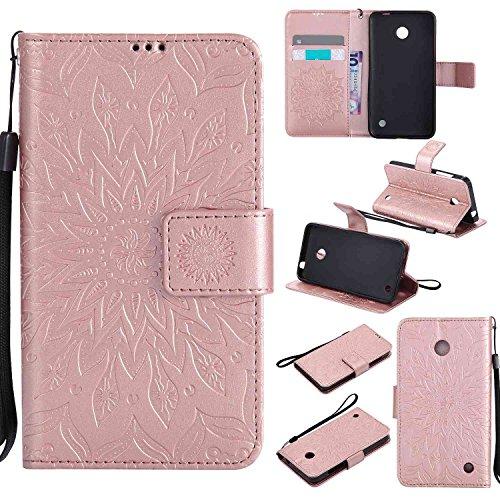 pinlu® PU Leder Tasche Etui Schutzhülle für Nokia Lumia 630 635 Lederhülle Schale Flip Cover Tasche mit Standfunktion Sonnenblume Muster Hülle (Roségold)