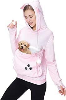 Women Pet Carrier Sweater Puppy Kitten Pouch Hoodies Long Sleeve Plus Size Tops