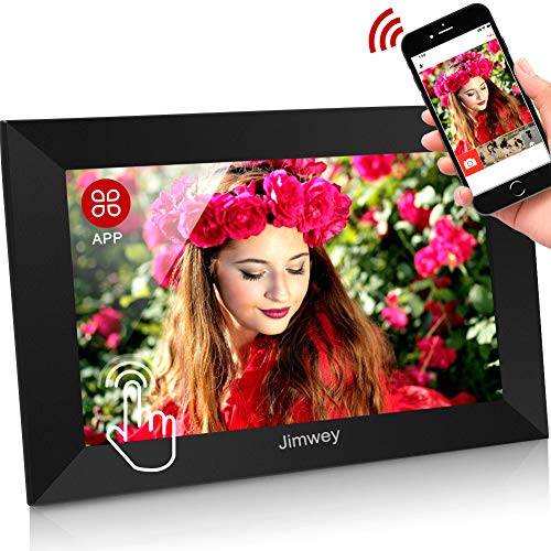 WLAN Digitaler Bilderrahmen WiFi Elektronischer Fotorahmen mit 10.1 Zoll 1280P IPS Full HD Touchscreen 16GB Cloud-Speicher Automatische Drehung, Foto Video über App aus Handy sofort teilen
