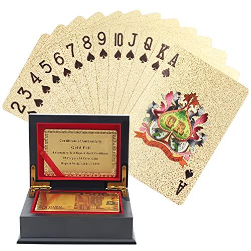 Kurtzy Cartas Poker de Pan de Oro - Juegos de Cartas Impermeables para Magia, Jugar Póquer y Juegos Familiares - Baraja Poker Profesional con Diseño de 500 Euros y Caja de Regalo