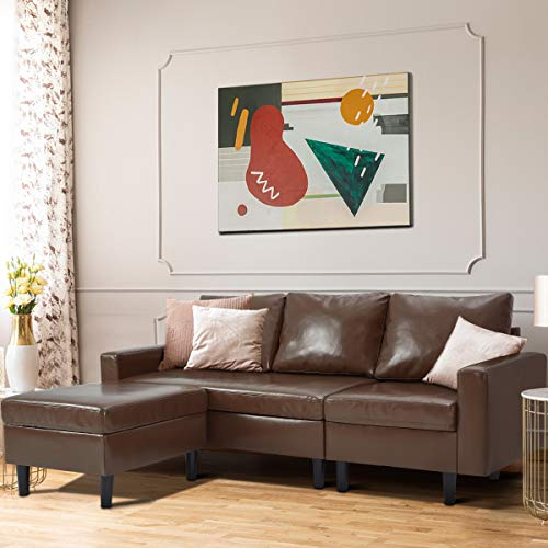 YODOLLA Convertible Sectional Sofa Couch, L-Shaped Sofa Couch with Modern Faux Leather, Brown Sectional for Small Space