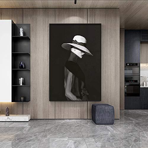 Frameloze schilderij Portret van mooie vrouw in hoed met beeldkarakter op canvas schilderij in woonkamer woondecoratieZGQ2057 30X40cm