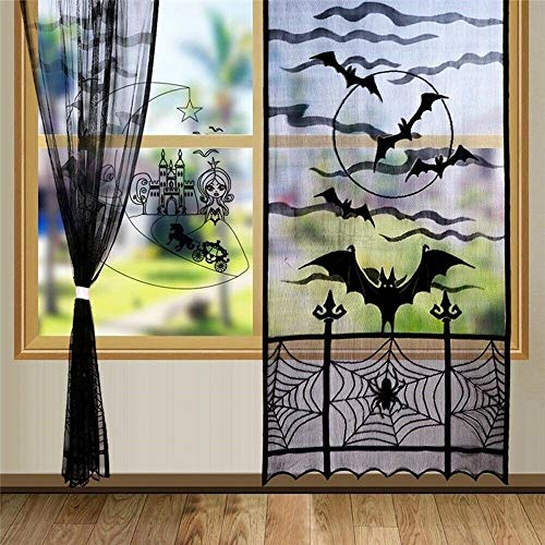 JORITY Halloween Decor Black Lace Window Curtains Spider Web Bats Door Curtain Kitchen Table Runner Shower Curtain for Holiday Party Decoration 40 x 84 Inch