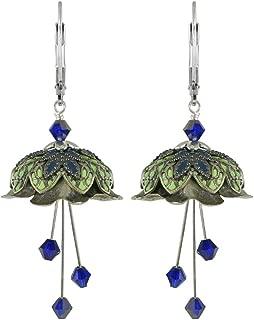 NoMonet Hand Painted Flower Fairy Earrings - Lorelei Earrings in Silver, Green and Navy