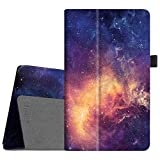 Fintie Folio Case for All-New Amazon Fire HD 8 Tablet (Compatible with 7th and 8th Generation Tablets, 2017 and 2018 Releases) - Slim Fit Premium Vegan Leather Standing Protective Cover, Galaxy