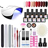 Shelloloh Kit Vernis Semi Permanent 36W Sèche Ongles Gel UV Ongle Lampe UV/LED Gel Polish 10pc Manucure Basecoat Topcoat Strass Nail Art Décoration Dissolvant