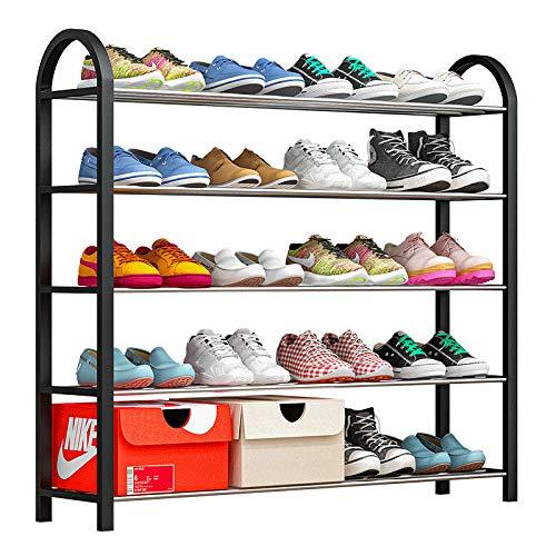 Ibequem Zapatero apilable con 5 niveles, organizador de zapatos de metal para 20...