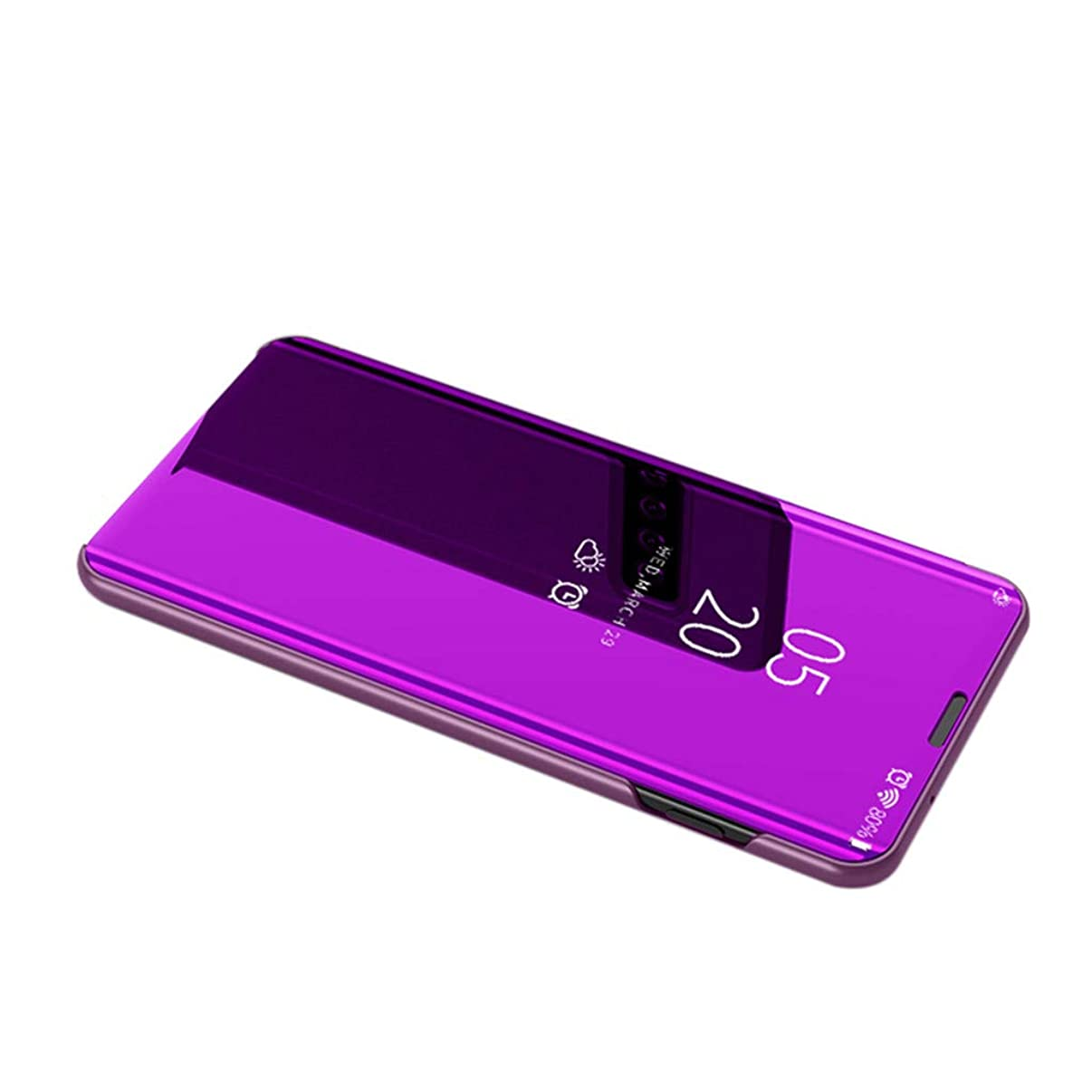 Ecurson Phone Case Cover,Mirror Plating Sleep Wake Flip Leather Case Cover for Samsung Galaxy S10E