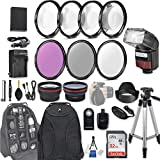 58mm 28 Pc Accessory Kit for Canon EOS Rebel SL2, 200D DSLR with 0.43x Wide...