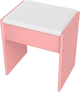 YINGFU Vanity Stool, Modern Dressing Stool with PU Cushion, Piano Bench for Women/Girl, Pink Makeup Stool for Bedroom, Living
