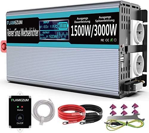 Flamezum Inversor 12v 220v Onda Pura 1500W Convertidor de Corriente DC to...