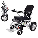 wcz Lightweight Folding Electric Wheelchair, Deluxe Fold Foldable Power Compact Mobility Aid Wheel