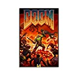 Qunima Game Doom Eternal 3 Poster Decorative Painting Canvas Wall Art Living Room Posters Bedroom Painting 12x18inch(30x45cm)