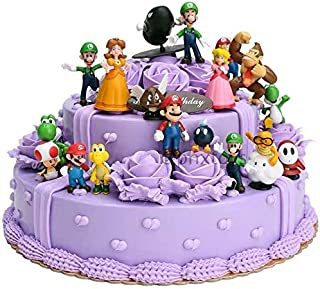 18 Pcs Super Mario Brothers Cake Topper Figures Toy Set -Kids Birthday Party Cake Decoration Supplies