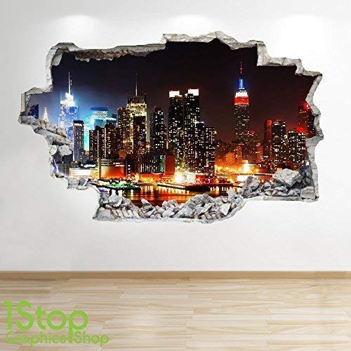 1Stop Graphics Shop NEW YORK SKYLINE WALL STICKER 3D LOOK - BEDROOM LOUNGE CITY WALL DECAL Z557 Size: Large