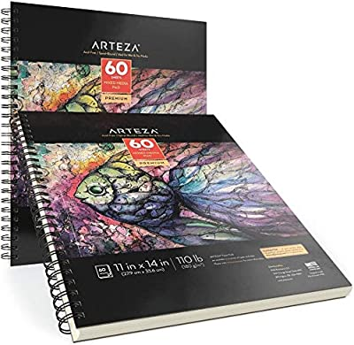 Arteza Mixed Media Sketchbooks, Pack of 2, 11 x 14 Inches, 110lb/180gsm, 120 Sheets, Spiral-Bound Drawing Pads, Art Supplies for Wet and Dry Media