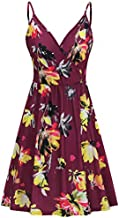 STYLEWORD Women's V Neck Floral Spaghetti Strap Summer Casual Swing Dress with Pocket(Floral21-412,S)