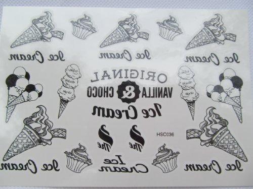 TT: crème glacée tatouage temporaire, femmes, qualité hommes Mode Noir Icre-crème cônes, petits gâteaux tatouage temporaire par Fat-catz-copie-catz