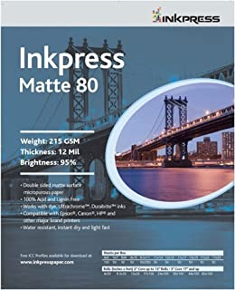 Inkpress Duo Matte 80 Inkjet Paper, 215 gsm Weight, 12 mil Thickness, 95% Brightness, Double Sided, 13x19