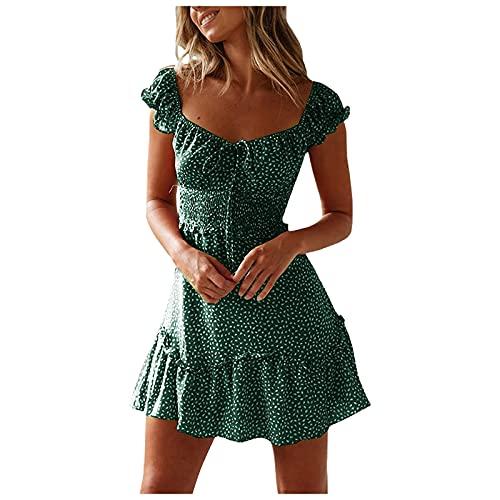 yiouyisheng Damen Blumen Sommerkleid High Waist Volant Kleid Vintage Minikleid Strandkleid, Strand Kleider Schnüren Kleid Rückenfreies Kleider Böhmisches Kleid