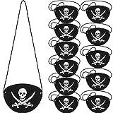 Parche de Ojo de Pirata de Fieltro Parche de Un Ojo de Capitán de Cráneo para Fiesta Temática de Pirata Halloween Navidad (12 Piezas)