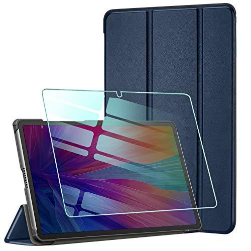 AROYI Custodia Cover Compatibile con Huawei MatePad T10S   T10 2020 con Vetro Temperato, Ultra Sottile e Leggere Magnetico Protettiva Smart Stand in Pelle PU Case, Blu