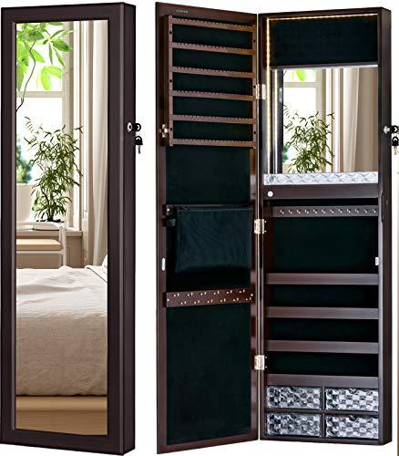 LUXFURNI LED-Licht Schmuckschrank Wandhalterung/Türspiegel Make-up Abschließbarer Schrank, großer Aufbewahrungsbehälter mit Schubladen (Braun)