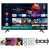 Hisense 43A6G 43 Inch A6G Series 4K UHD Smart Android TV with Dolby Vision HDR 2021 Bundle with Premiere Movies Streaming + 37-70 Inch TV Wall Mount + 6-Outlet Surge Adapter +2X 6FT 4K HDMI 2.0 Cable