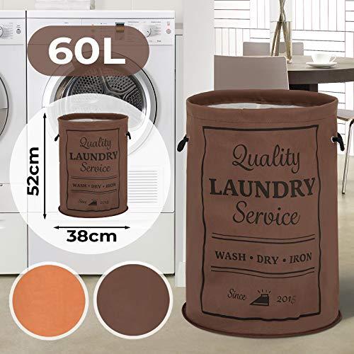 Jago waszak met hengsels - 38x38x52 cm, 100% katoen, 60 L - wasverzamelaar, wasmand, wasbox, waszak