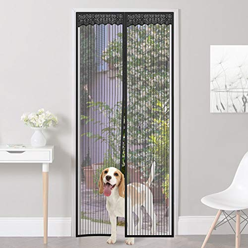 Homein Magnetic Screen Door Self-Sealing Mesh Screen Keep Bugs Out Screen Door Magnets Full Frame Fly Mesh Curtain Adhesive Strips Mosquito Nets with Lace for Doors,Fits Door up to 37x82inches MAX