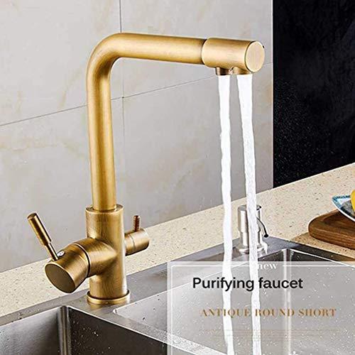 AXWT Grifo de Cocina Dual Shoat Shout Boting Webing Water Filter Brass Purifier Recipiente Fregadero Mezclador Toque Hot and Fried Water 360 Giratorio de 3 vías de 3 vías montadas,