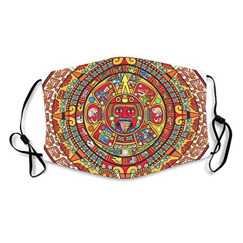 KittyliNO5 Buntes Maya Medaillon Ägyptens Indien Gesichtsbedeckung Winddicht Mundschutz für Damen Herren White with 10 Filters