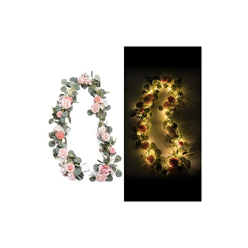 silk flower arrangements ling's moment handcrafted artificial blush pink rose flower garland with lights 6.5ft for wedding table centerpieces arch flowers ceremony backdrop decorations
