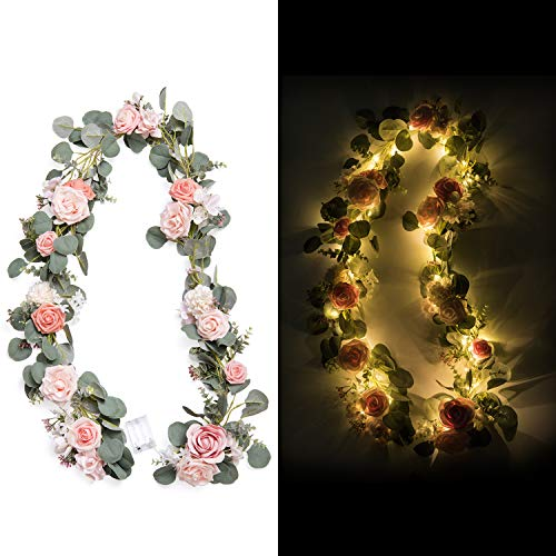 Ling's moment Handcrafted Artificial Blush Pink Rose Flower Garland with Lights 6.5FT for Wedding Table Centerpieces Arch Flowers Ceremony Backdrop Decorations