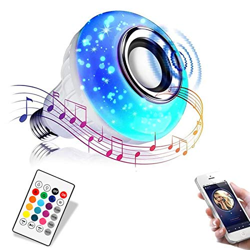 Jetencn Bluetooth Light Bulb with Speaker, Smart LED Music Play Bulb with 24 Keys Remote Control 12W Power E26 Base Changing Color Lamp for Bar Decoration, Home, KTV,Party, Restaurant…