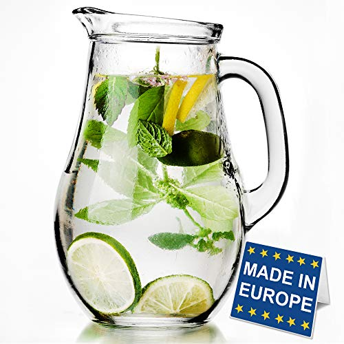 Glass Water Pitcher with Lid and Spout, Jug with Glass Handle for Iced Tea Juice Water Soda, Old-Fashioned Classic Beverage Pitcher and Carafe, 62 oz Capacity