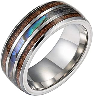 YiyiLai 8mm Wood Shell Stainless Steel Wedding Comfort Fit Band Rings Silver